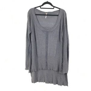 Free People Gray Textured Oversized Sweater Sz L
